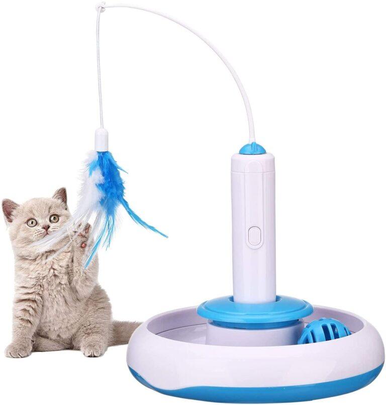 PETTOM rotierende Feder interaktives Katzenspielzeug